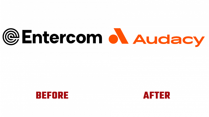 Entercom and Audacy Before and After Logo (history)