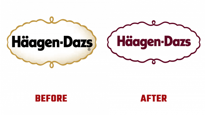 Haagen-Dazs Before and After Logo (history)