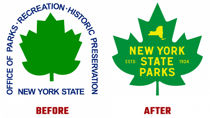 NY State Parks Before and After Logo (history)