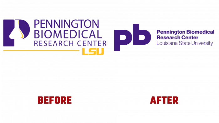 Pennington Biomedical Before and After Logo (history)